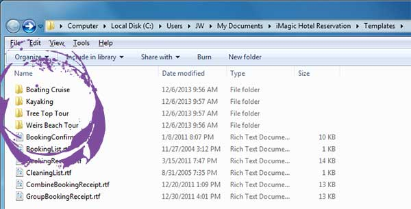 Hotel management, making your events match a folder structure in Windows