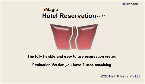 iMagic Hotel Reservation - Startup Screen